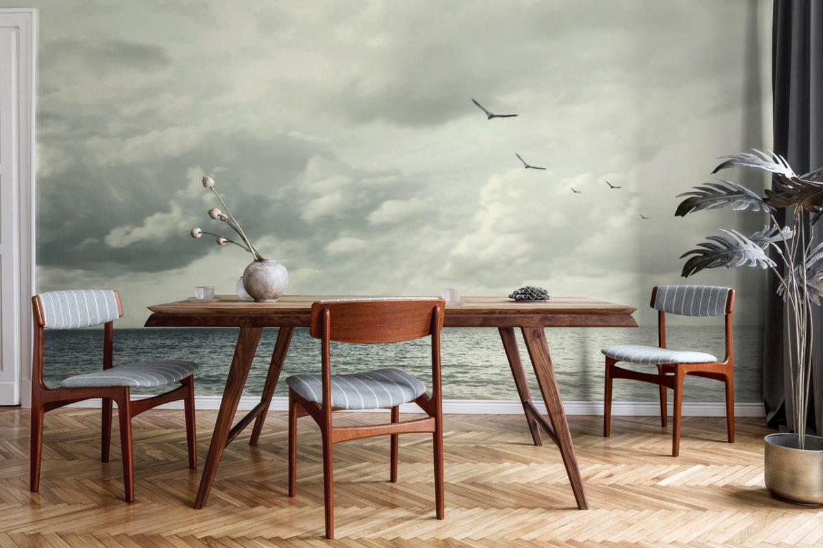 "Home-Office mit Fototapete ""ruhiges Meer"" (Foto: myloview.de)"